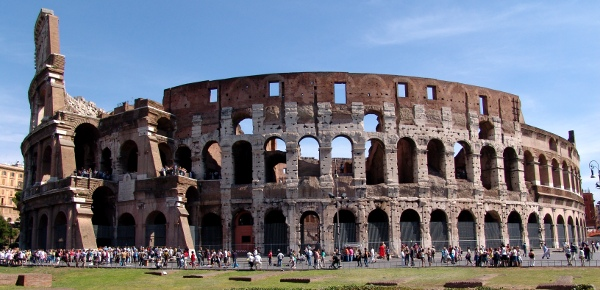 a wide photo of the Colosseum in Rome